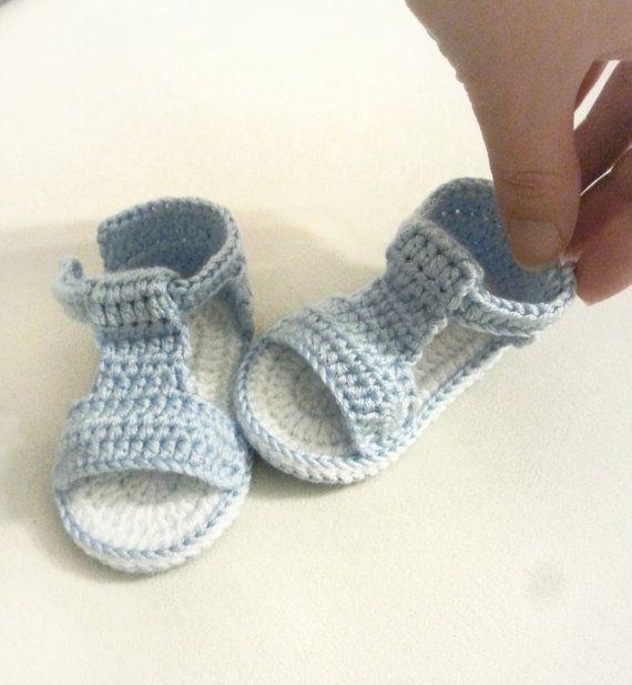 Sandalias de bebé de ganchillo ganchillo zapatos de bebé | Calceta ...
