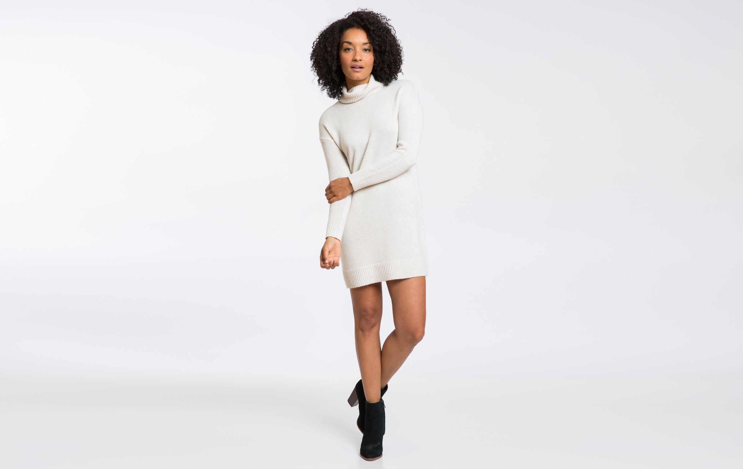 Turtleneck Sweater Dress Cream Clothes Pinterest Layering