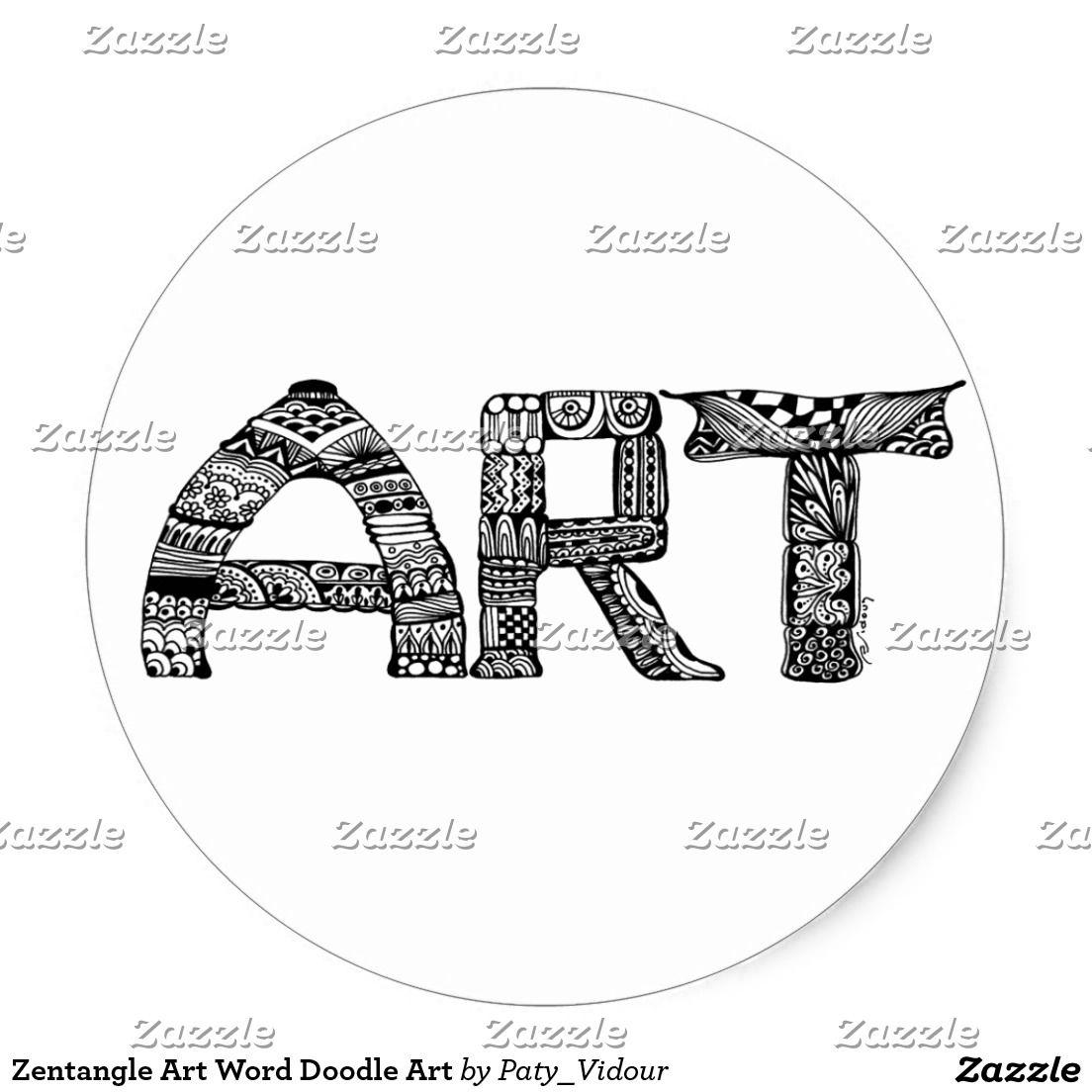 Zentangle Art Word Doodle Art Classic Round Sticker