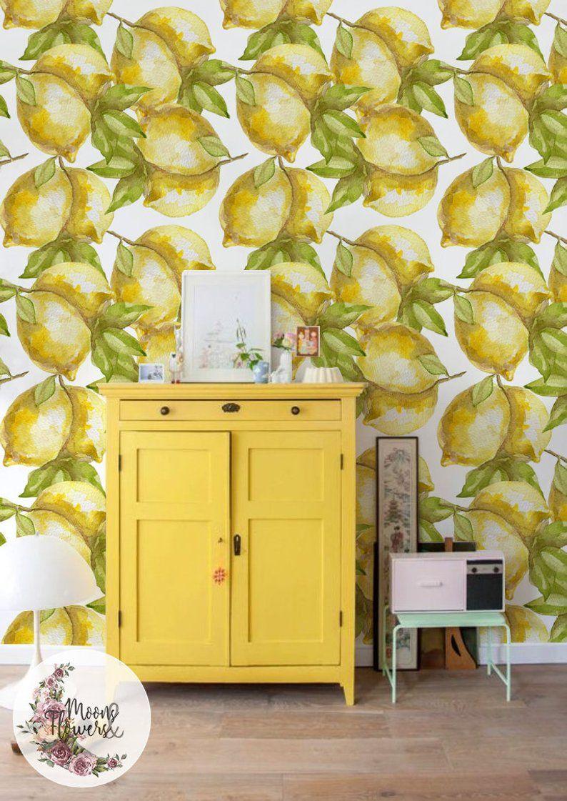 Lemon removable wallpaper, Citron wall mural, Fruits wall