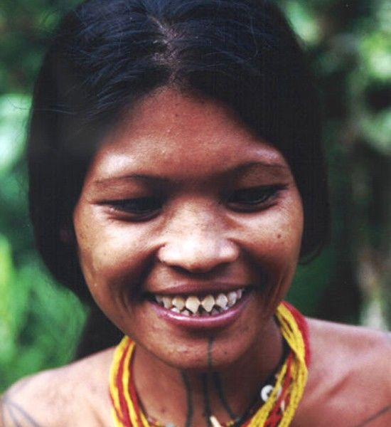A Mentawai woman with sharpened teeth. The Mentawai are an ethnic group indigenous to the Mentawai islands - a chain of islands in the western part of Indonesia. The women sharpen their teeth with a chisel for aesthetic reasons (as a rite of passage). Reportedly they do so with their teeth in order to mimic those of a shark.
