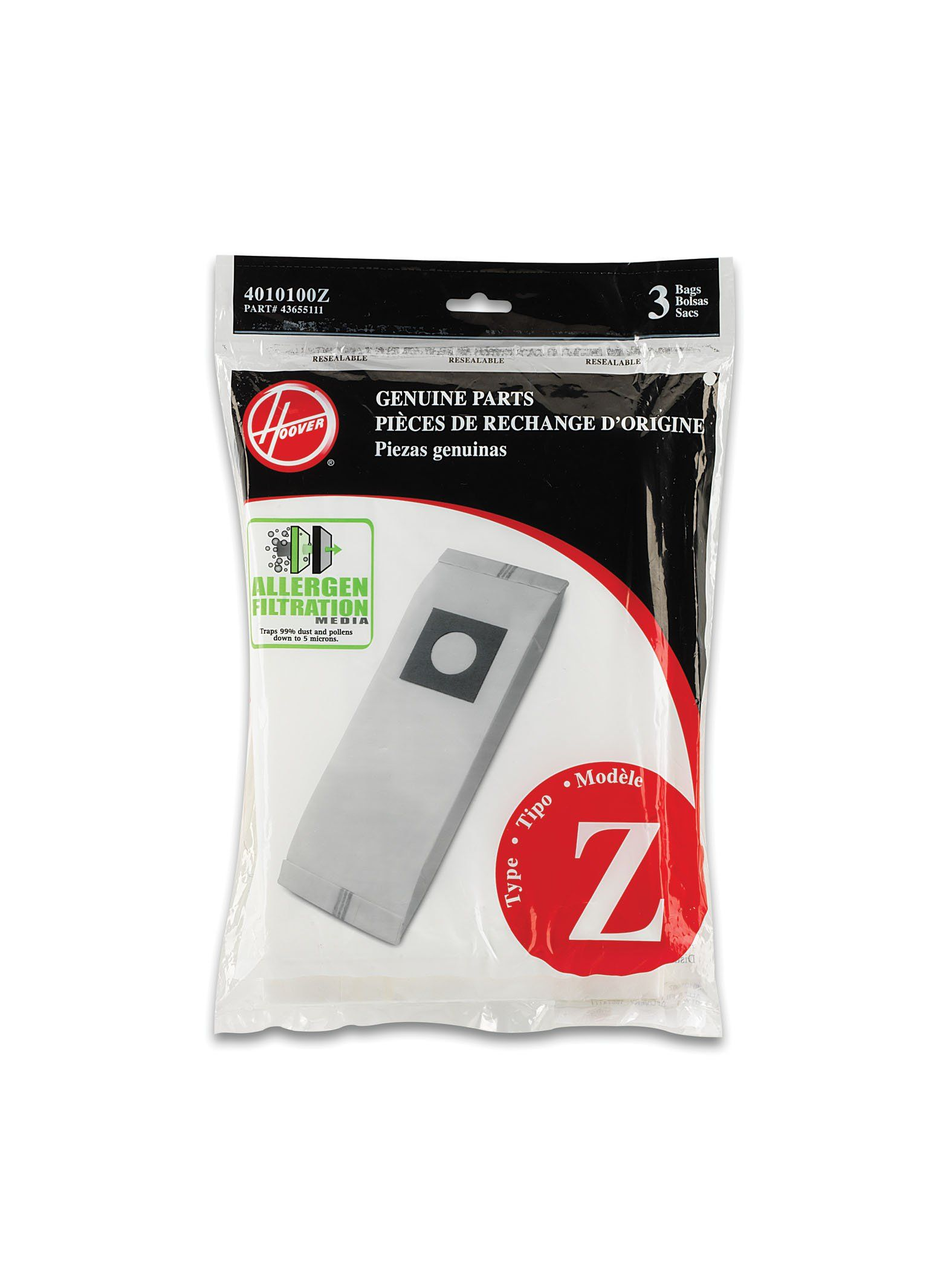 Hoover Type Z Allergen Bag 3Pack 4010100Z Find out more