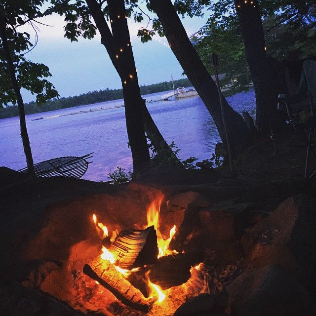 #sunset #camping #campfire #maine