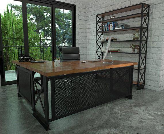 Executive Carruca Office Desk Single Or L Shape Etsy Farmhouse Kitchen Design Commercial Office Furniture Office Furniture Desk