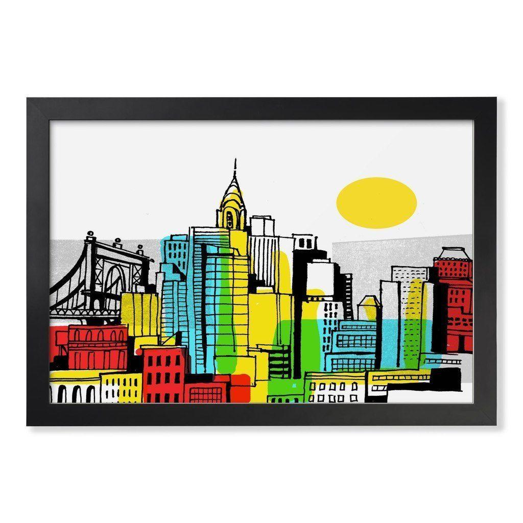 Color block cityscape