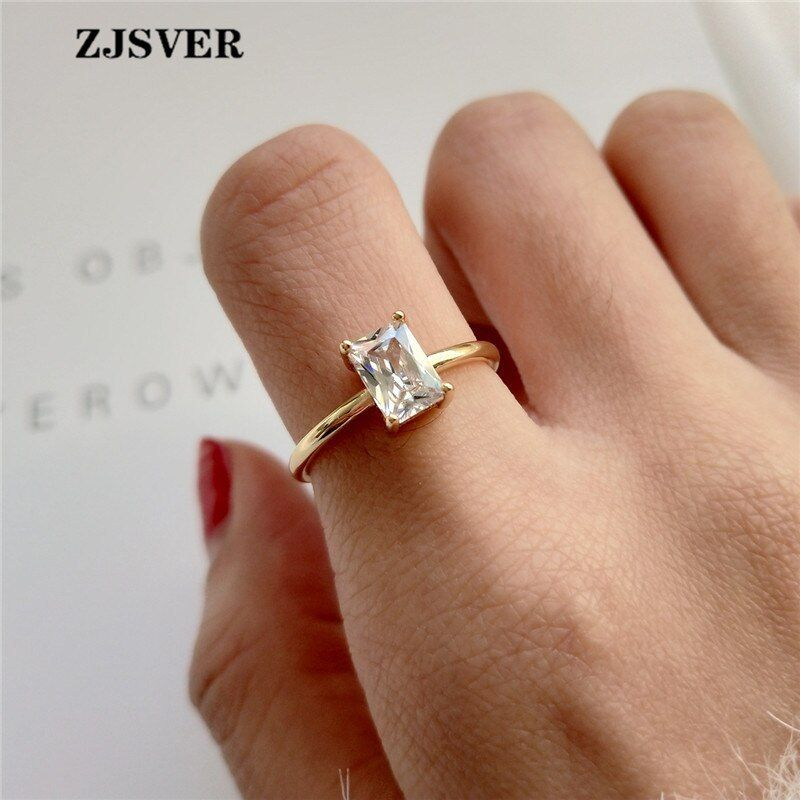 Zjsver Korean Jewelry 925 Sterling Silver Rings Golden Classic