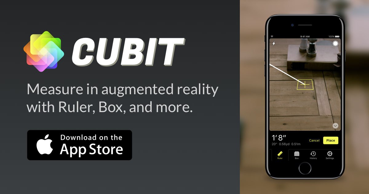 Cubit Measure in augmented reality. Augmented reality