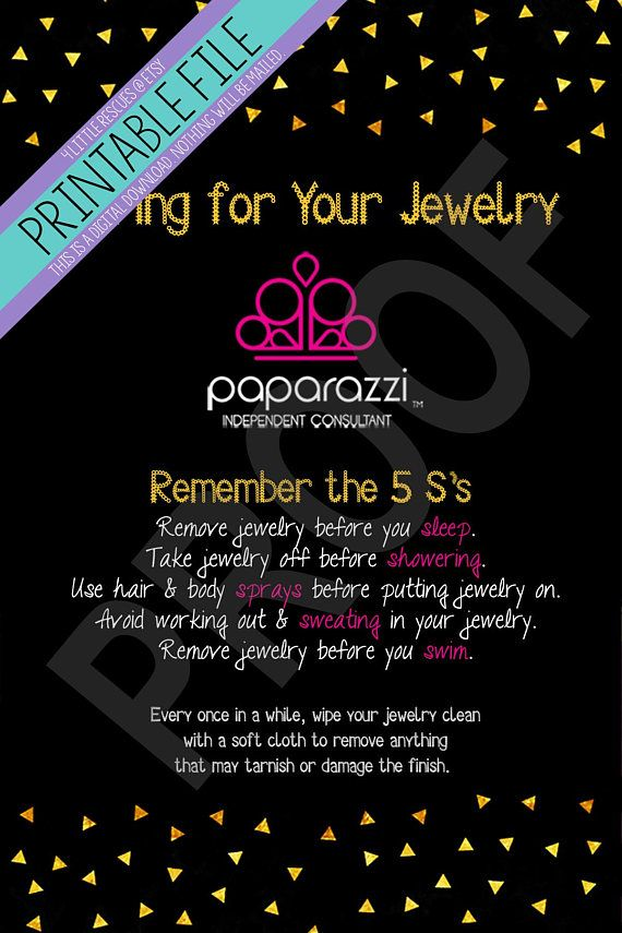 Printable: Paparazzi Jewelry Care Cards | Consultants | Package ...