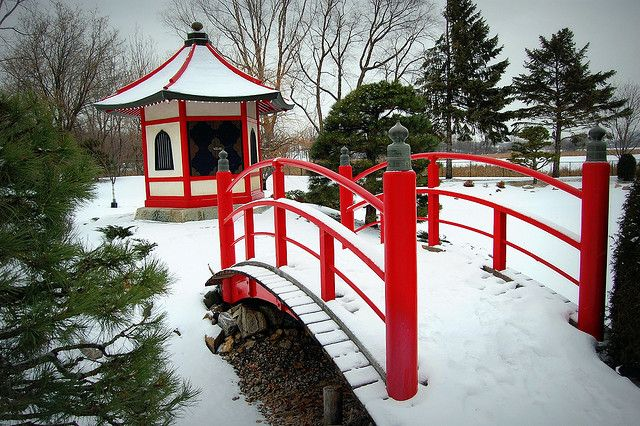 The Benten-do and Taiko-bashi are two of the most prominent features at the Japanese garden--beautiful with a light covering of snow.