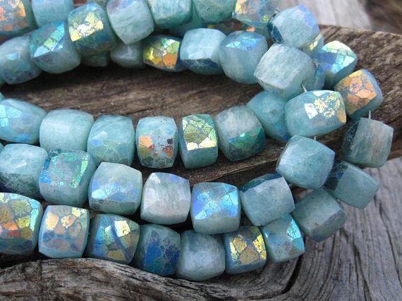 Mystic Amazonite Cubes  semiprecious gemstone beads  7mm