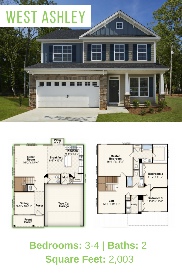 Ready To Build Your New Home With Your Own Floor Plan Use Our West Ashley 4 Bedroom Floor Plan To Build On Your Own Lot Thi Floor Plans House Plans New Homes