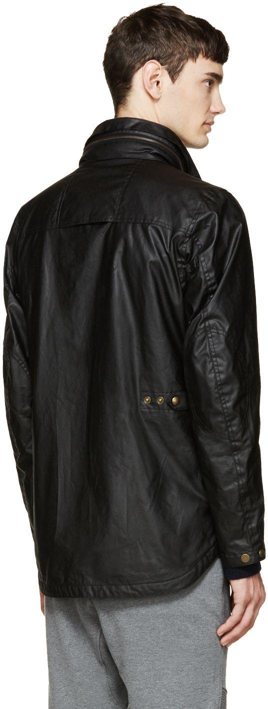 Belstaff: Blouson noir en coton enduit Citymaster | SSENSE