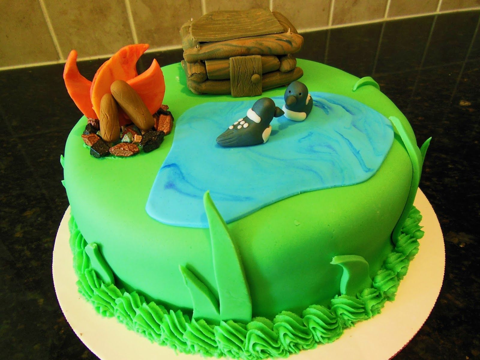 Camping cake. Cabin cake. Nature cake. Campfire cake