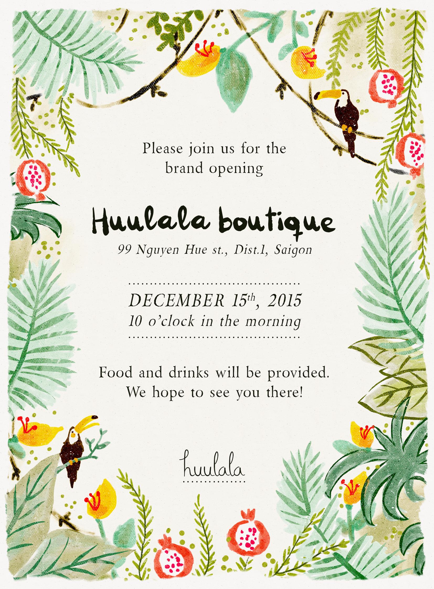 huulala grand opening invitation