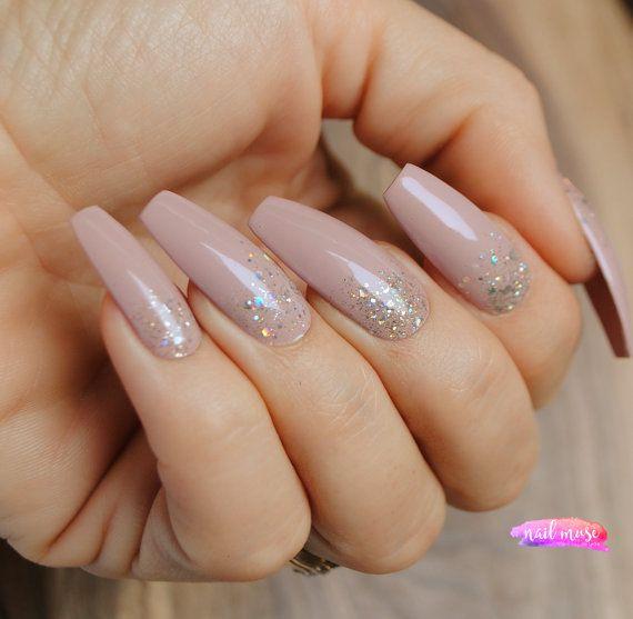 Press on Nails Blush Pink Nude Glitter Gradient/Gel Nails/Glitter ...