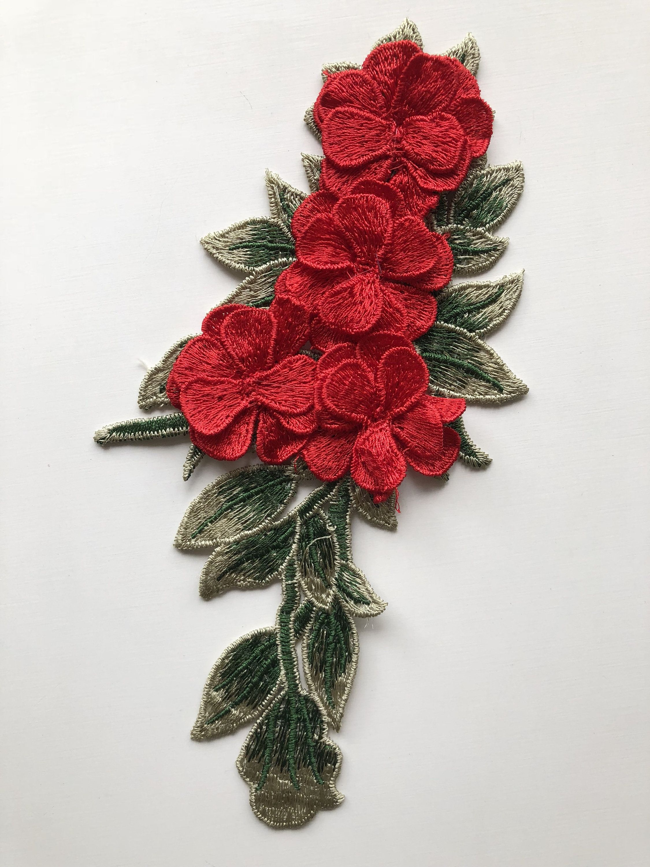 3d flower patch embroidered applique patch 8 inch long