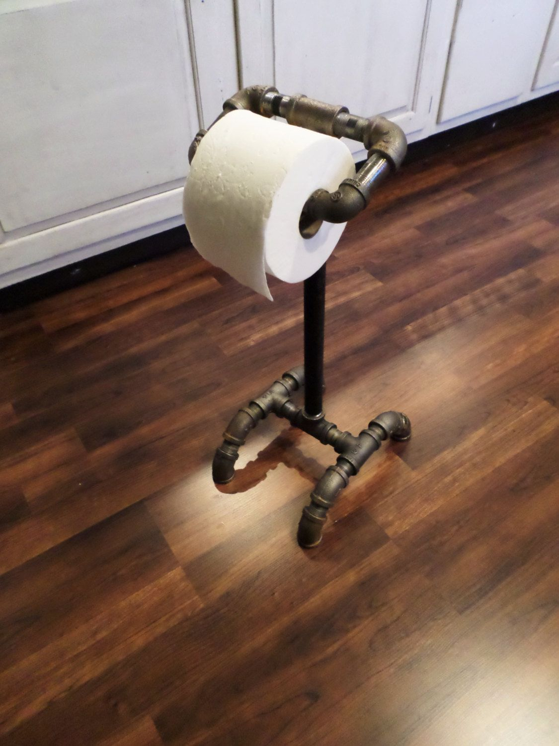 Rustic Industrial Toilet Paper Holder Stand By
