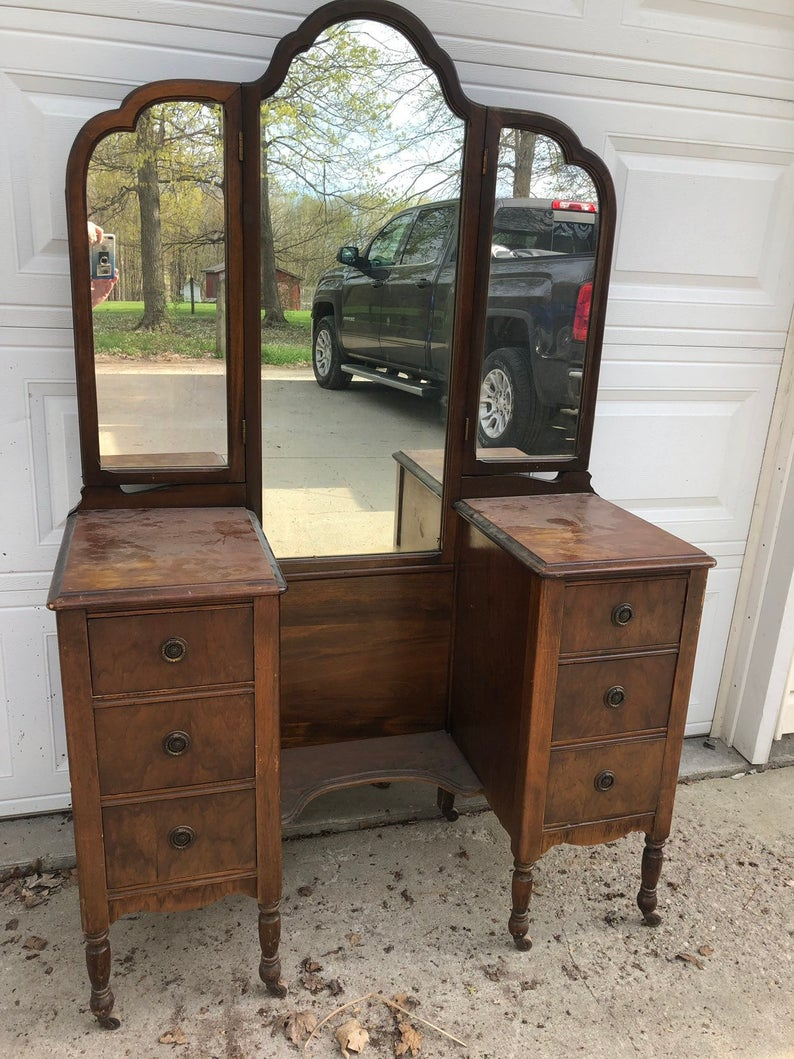 READY TO SHIP-Antique 3 mirror Vanity/Dressing Table in ...