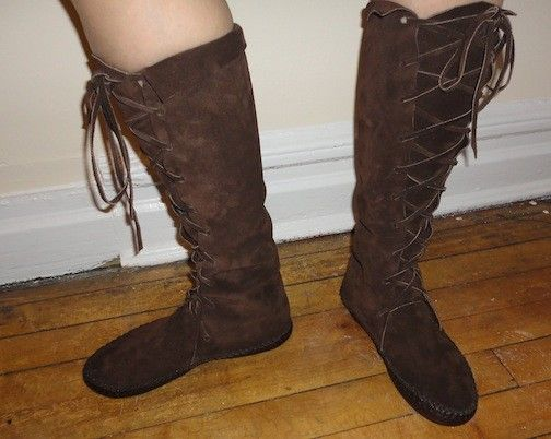 d0b8889e18711 Elf Boots Handmade Moccasins Dark brown Suede with by earthgarden ...
