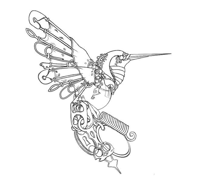 Mechanical Hummingbird Steampunk Tattoo Steampunk Drawing Steampunk Animals