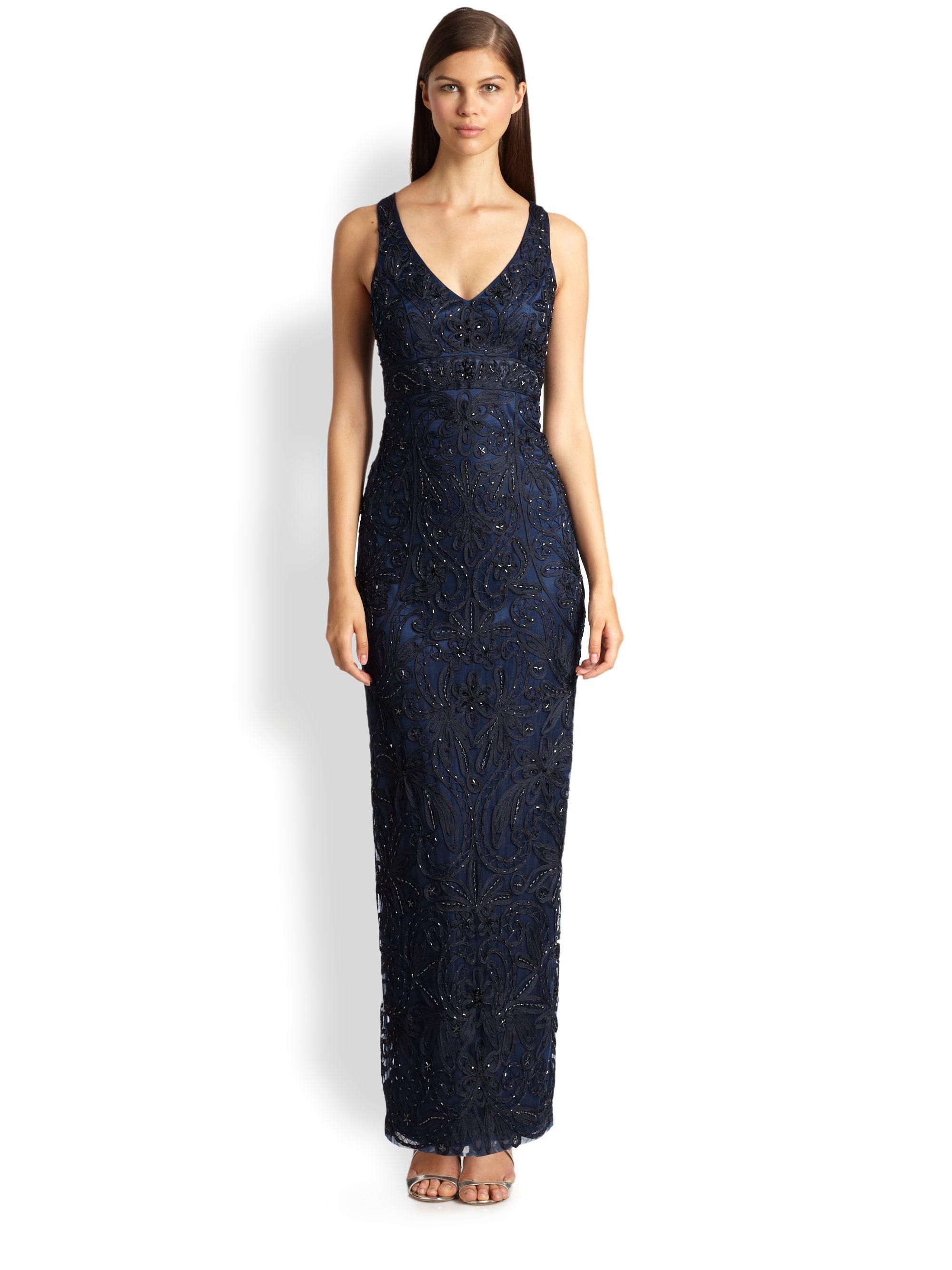 Sue Wong Long Column Dress In Blue Navy Lyst