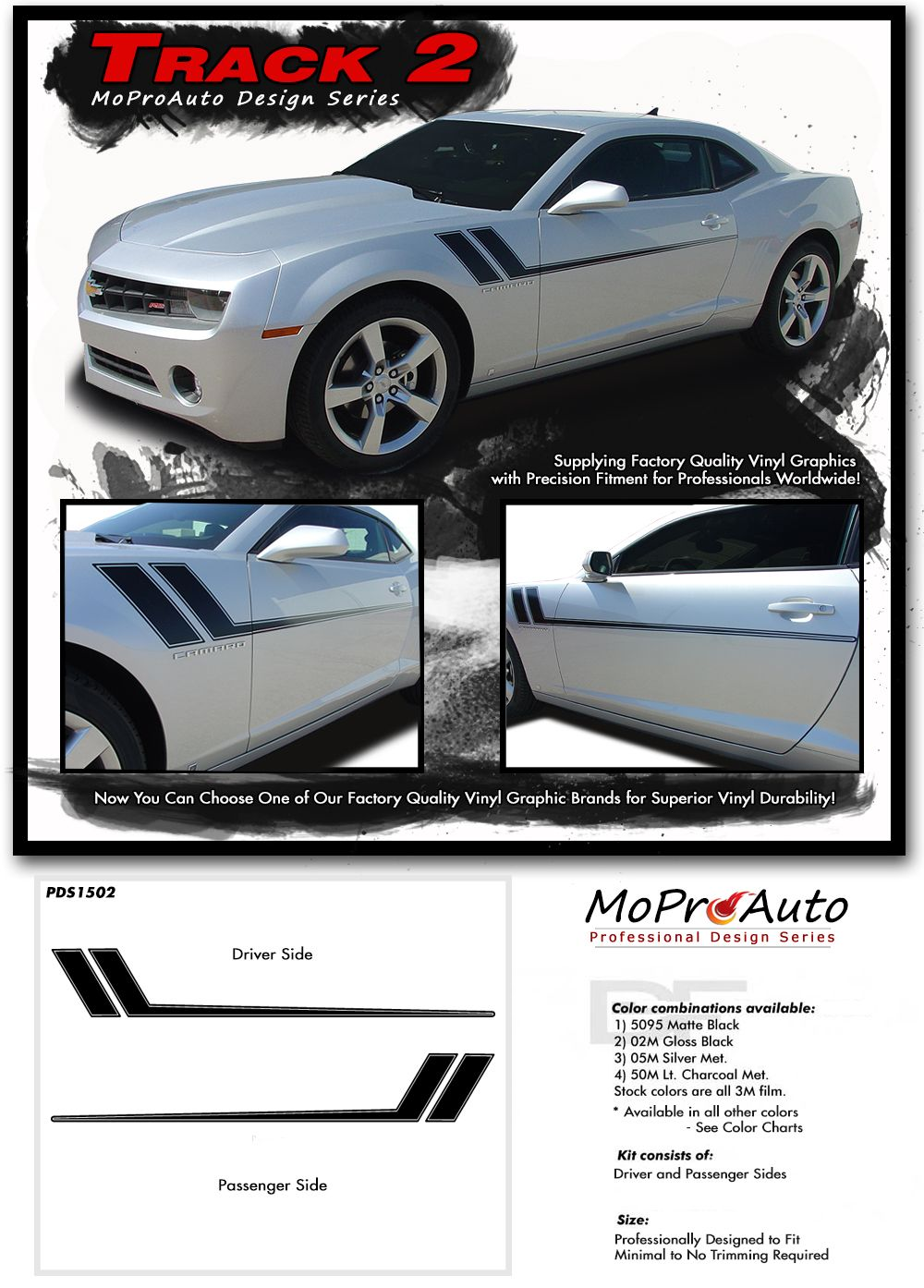 Free Gills Camaro Side Stripes Decal Kit 2010-2015 LS SS LT 3M Vinyl