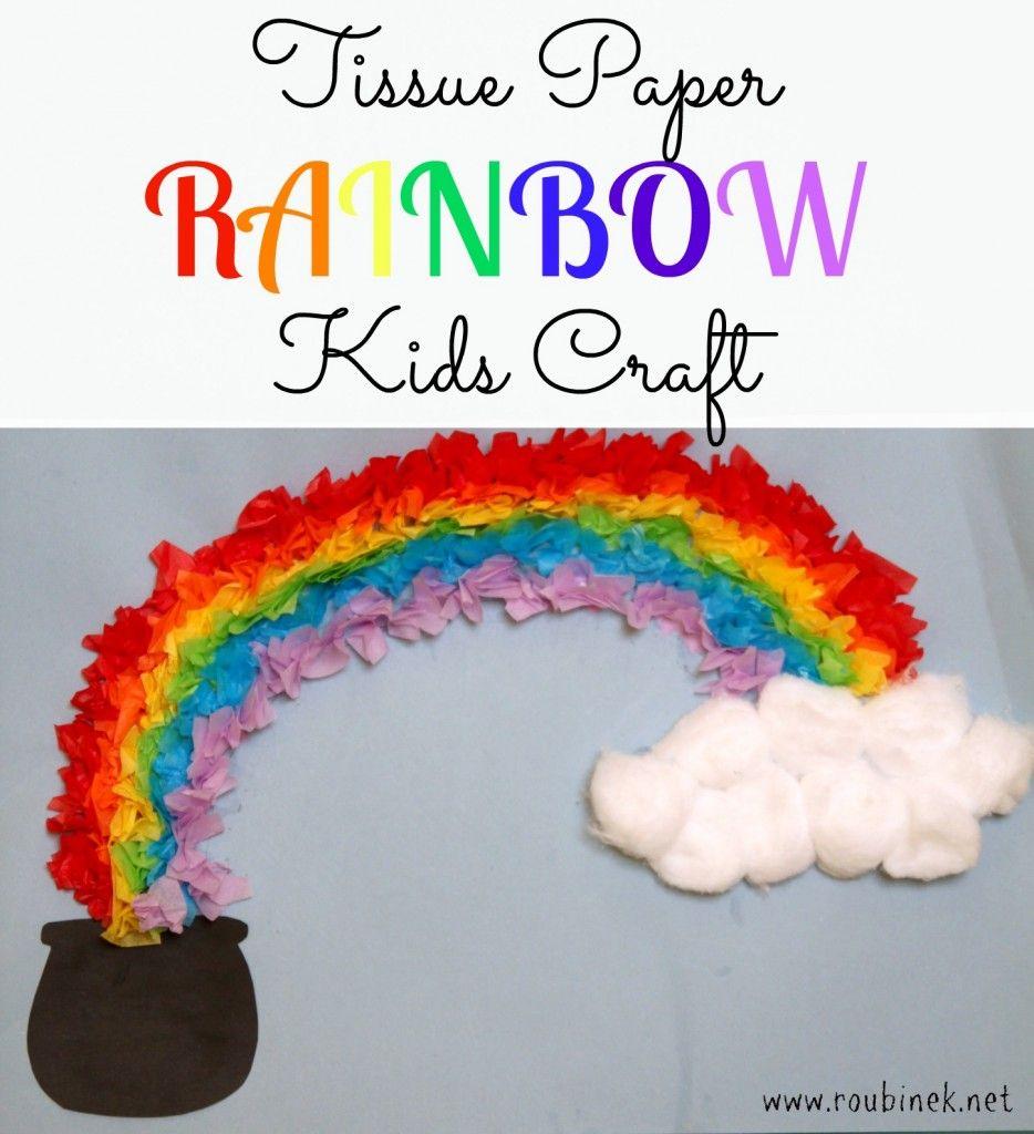tissue paper rainbow kids craft stpatricksday st patrick u0027s day
