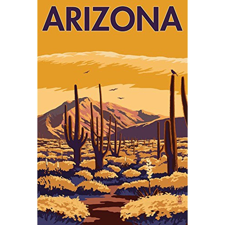 Arizona Desert Scene with Cactus (12x18 SIGNED Print Master Art ...