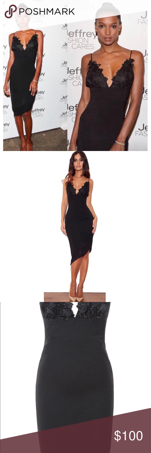 302f01fcc177 Caprice Black Slip Dress With Lace Applique - raveitsafe