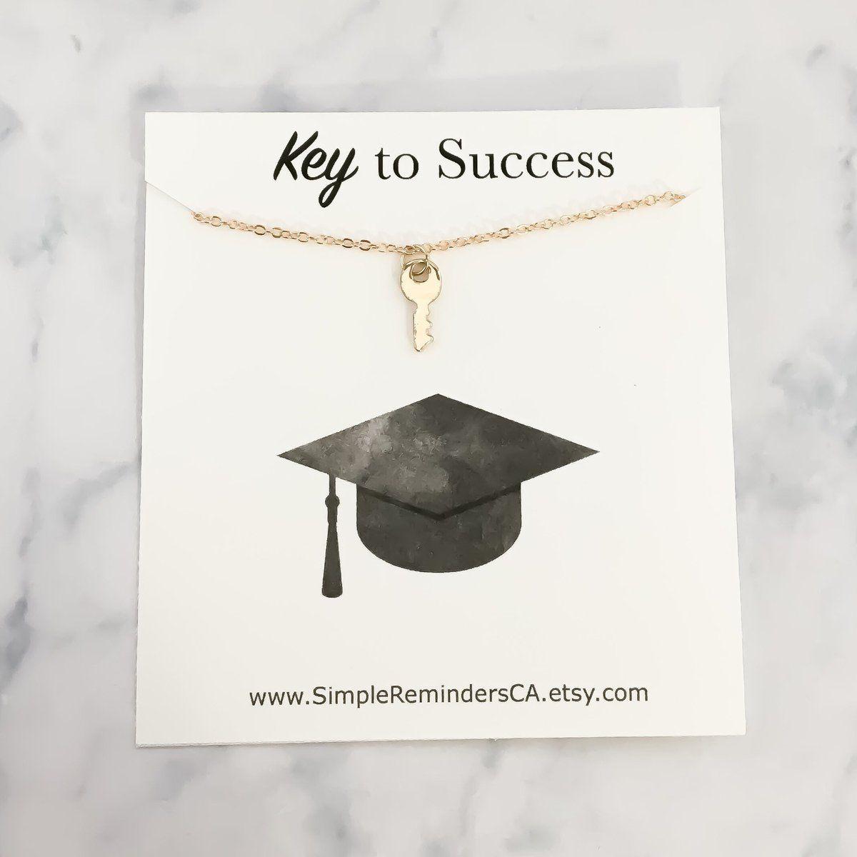 Dainty gold key necklace key to success necklace