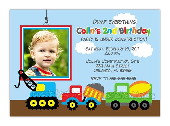 dump truck construction theme birthday party invitation you print