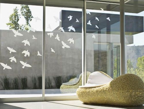 Sandblasted Frosted Glass Effect Flying Birds Vinyl Wall Art - Vinyl etched glass window decals