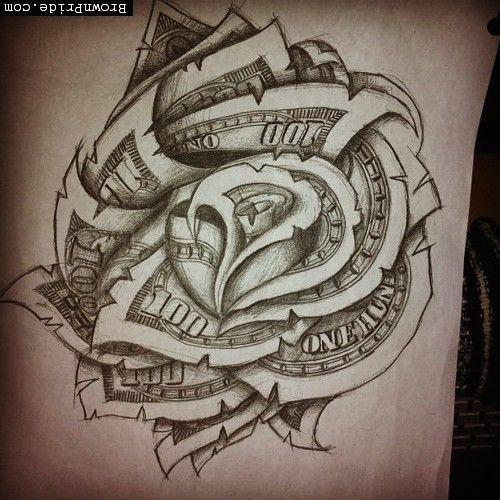Dollar Bill Rose Tattoo | Tattoos | Pinterest | Tattoo ...