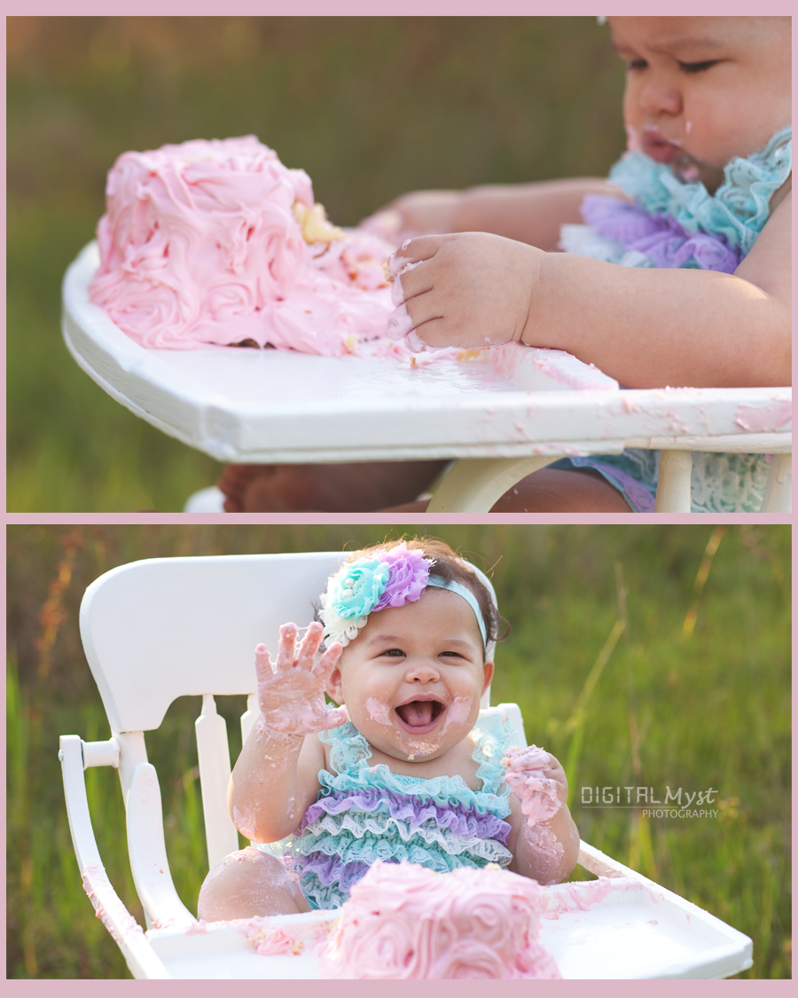 Vintage inspired first birthday session is exactly what Kaylee's momma wanted and that's what we did!  She brought a vintage high chair that was a hand me down from her grandmother!  How cool right!?!  Add a vintage romper and a homemade cake and you have the best Land O Lakes Smash Cake Session about to happen outside Tampa!  For yours, visit www.facebook.com/digitalmystphotography