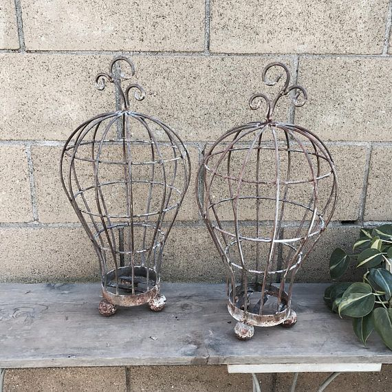 ON RESERVE For Judy Until 7 12 17 Wrought Iron Planters, Rusty Wrought Iron  Garden Art, Succulent Baskets, Metal Garden Baskets, Cottage