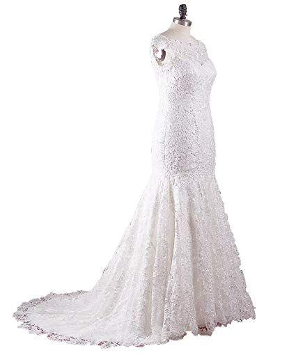 Justbridal Hand Made Elegent Lace Mermaid Wedding Dress