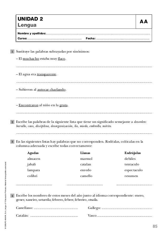Lengua quinto de primaria anaya-evaluaciones | lecturas | Pinterest