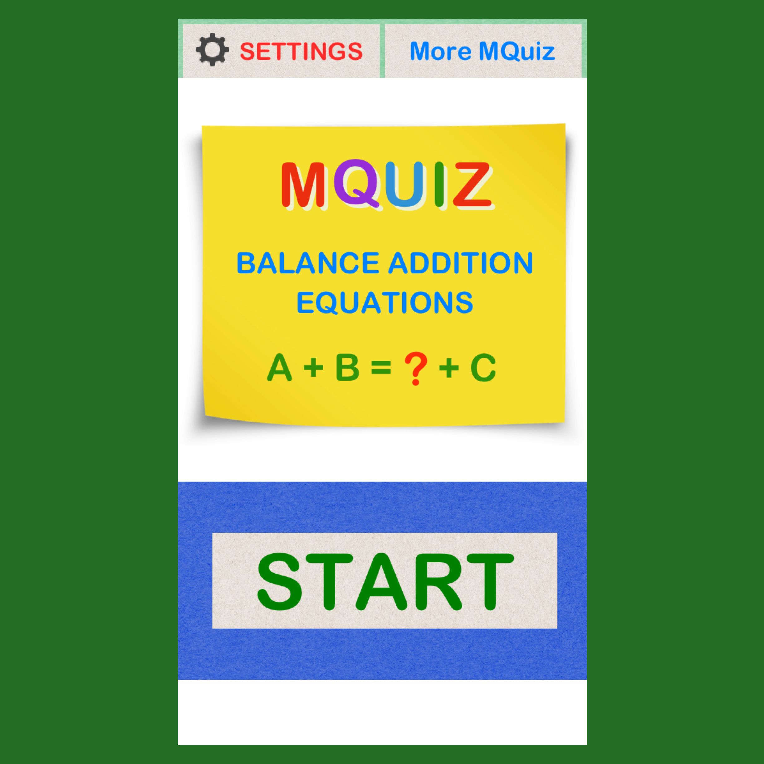 Balance Addition Equations: A + B = C + ? https://itunes.apple.com ...