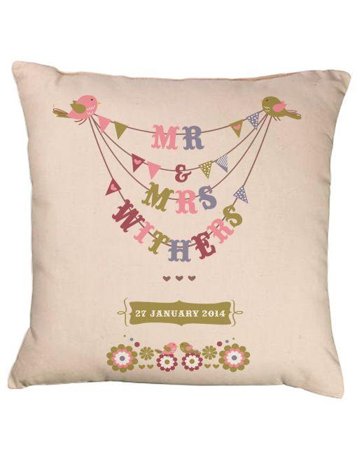 Wedding Bunting Personalised Cushion Mr Mrs Birds Bride