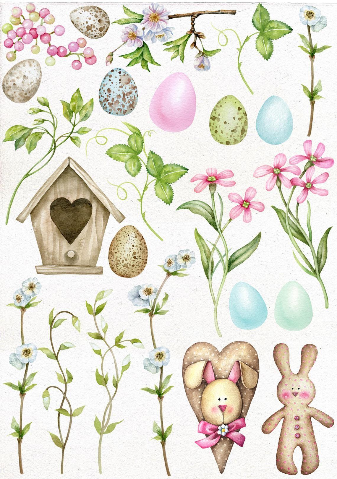 Easter watercolor. Clipart digital eggs clip