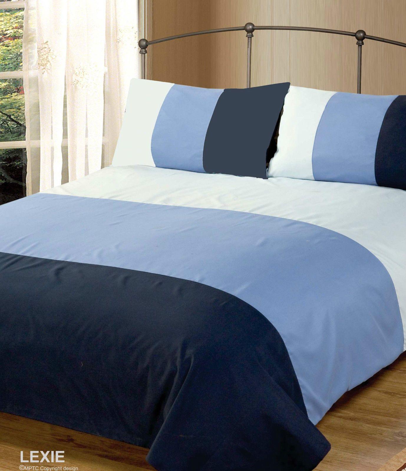 From Double Bed Duvet Quilt Cover Bedding Set Lexie Blue Plain 3 Tone