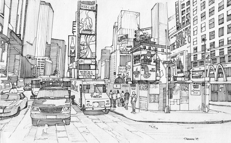 Times Square New York 1 By Edgeman13 Deviantart Perspective