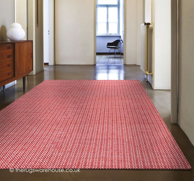 Mic Mac Red Rug A Hand Woven Ivory Patterned