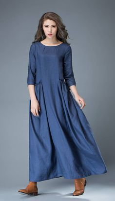 Maxi Blue Linen Dress – Cobalt Long Spring Summer Handmade Casual Everyday Womans Dress with Half Sleeves C803