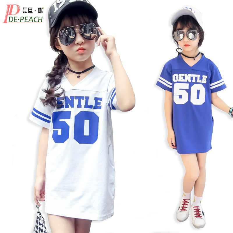f8978810601 Letter Loose Jersey Summer Cotton Girl Tees Fashion t Shirts Designs  T-shirt Children s Clothes Girls Stripe V-Neck t shirt