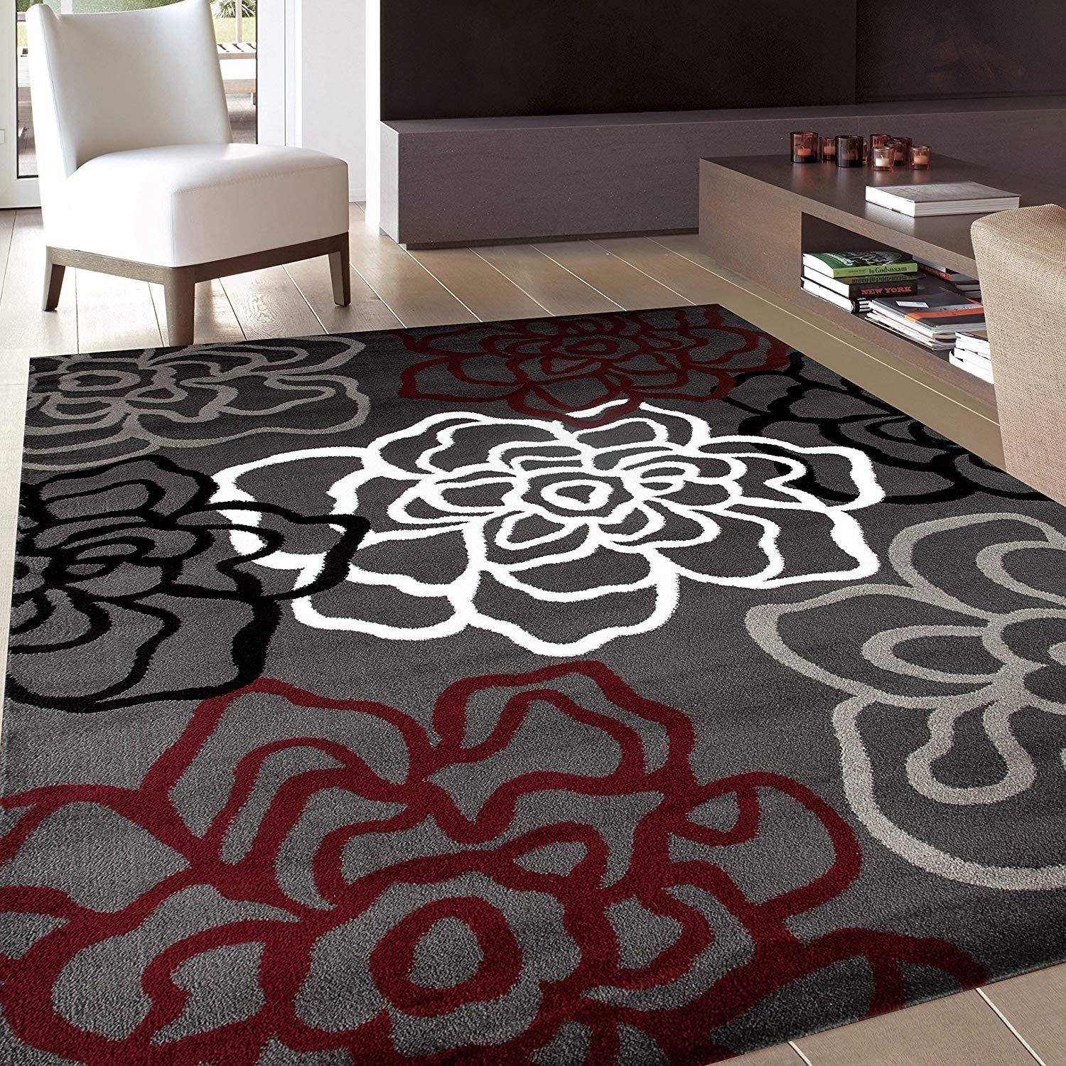 Rugshop Contemporary Modern Floral Flowers Area Rug 5 3 X 7 3