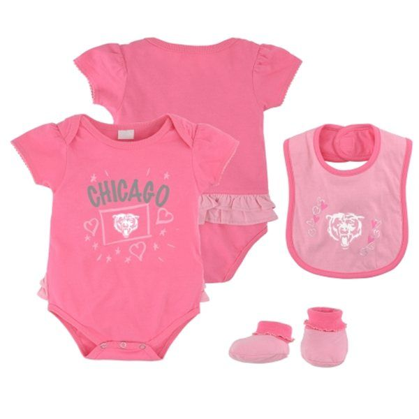 44c6a250ec7 Chicago Bears Pink Newborn Creeper, Bib and Bootie Set by Adidas | Sports  World Chicago $29.95