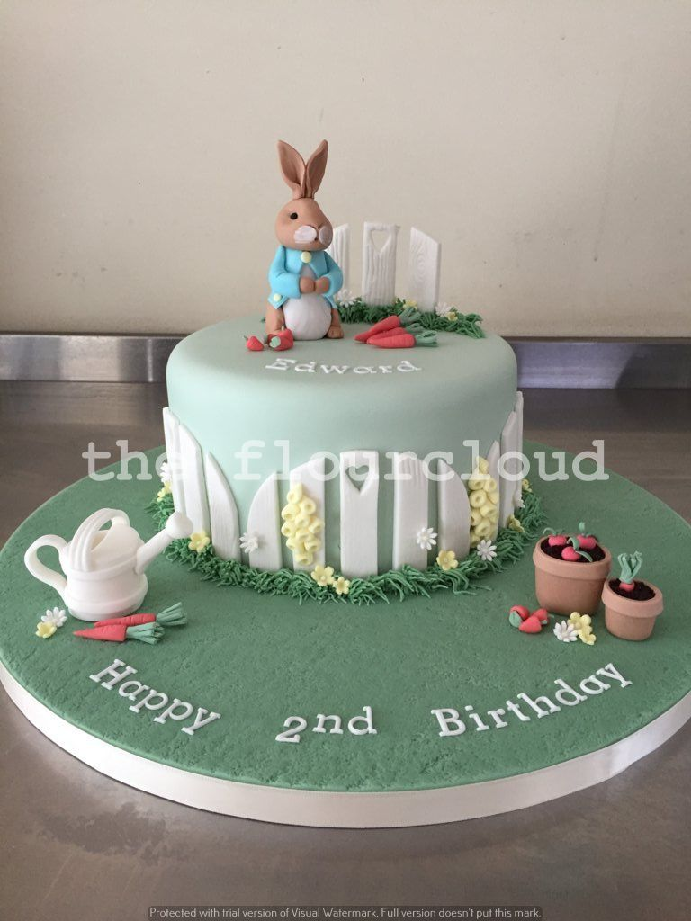 Delightful Peter Rabbit in his garden themed birthday cake