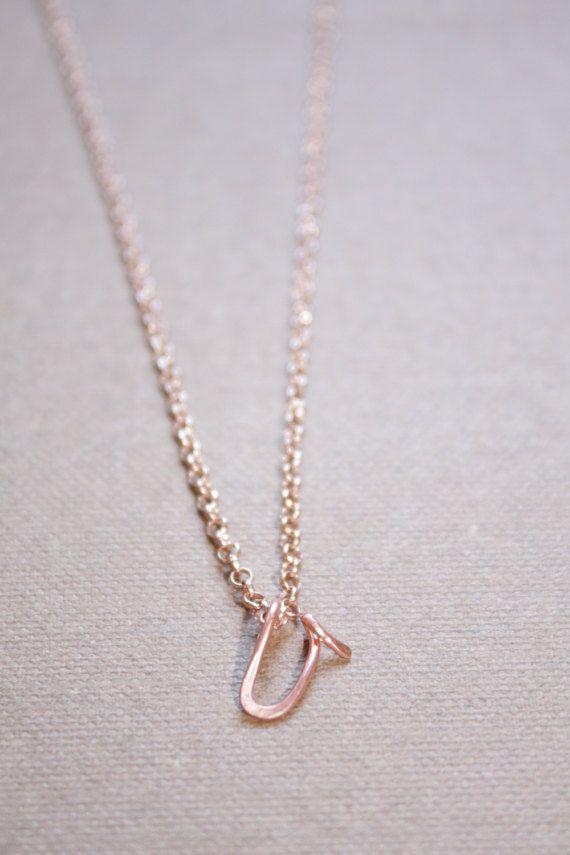 dabec6219 Letter V Necklace Silver Gold Rose Gold Initial by DiAndDe on Etsy ...