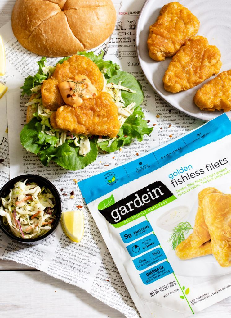 Spicy Vegan Fish Sandwich Quick and delicious,  Spicy Vegan Fish Sandwich is perfect for a busy family dinner that vegans and meat-eaters will both love. It's topped with a spicy mayo which pairs perfectly with healthy dill infused coleslaw.  @gardein